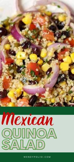 This Mexican Quinoa Salad with Avocado has it all. Creamy avocado, black beans, corn, tomato, red onion and a kick from pickled jalapeño. Top it off with a tangy Chipotle Lime Vinaigrette and crunchy oven baked corn tortillas and you have got a healthy vegan quinoa salad recipe that feels like anything but a sacrifice! This recipe is perfect to make on the weekend for meal prep. Quinoa Recipes Easy, Quinoa Salad Recipes, Healthy Gluten Free Recipes, Delicious Recipes, Vegetarian Recipes, Baked Corn Tortillas, Corn Tortilla Recipes, Mexican Quinoa Salad, Lime Vinaigrette
