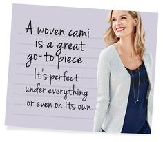 This one is navy and black so it works double duty!  #wovencami  Discover all the style tips from CAbi including video and style guides. View the Fall Collection.