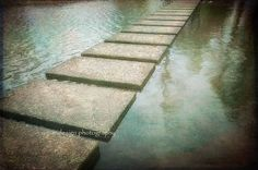 Stepping Stones In Water Photography  gold green by MaleahTorney, $30.00