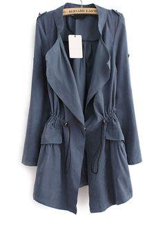 Blue Long Sleeve Epaulet Drawstring Trench Coat by: SheInside