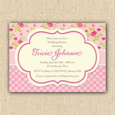 Pink Shabby Chic Baby Shower Invitations