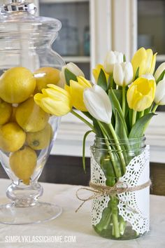 Easy Spring Mason Jar Centerpiece - Mason Jar Crafts Love