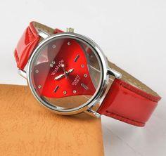 Hot Sell Vogue Watch Exquisite Peach Heart Design Casual Leather WristWatch Quartz Women Watch.Red&White&black Female Clock