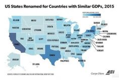 Map renames US states with country generating same GDP - Business Insider States In Usa, United States, Indiana, France Portugal, Economic Analysis, Us Government, Cartography, Croatia, Morocco