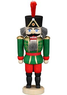 German nutcracker hussar ashtree green height 15 cm  6 inch original Erzgebirge by Seiffener Volkskunst SV 114024 *** Read more reviews of the product by visiting the link on the image.