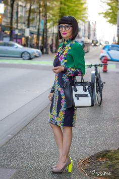 Sue Randhawa of the Optical Boutique spring styled in Erdem for the Obakki Foundation fashion show at Holt Renfrew, Eco Fashion Week