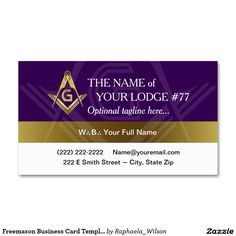 Profile card custom masonic gifts invitations cards and other purple and gold masonic business cards for the grand lodge freemason colourmoves