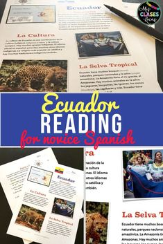 Cultural Reading about Ecuador for novice Spanish students. It would be perfect with the novel El Capibara con botas and includes geography, culture and la selva tropical Spanish Verb Ser, Spanish Language, Spanish 1, Spanish Teaching Resources, Spanish Activities, Reading Resources, Spanish Teacher, Spanish Classroom, Elementary Spanish