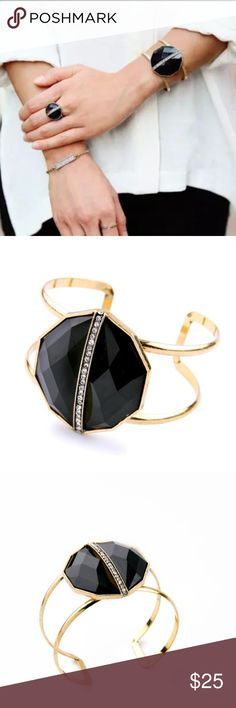 Retro style Cuff Bracelet (nwot) Stunning faux black onyx stone with an antique gold band, rhinestones down the center. Sorry, Ring not available! This is a beautiful classic piece. Brand new in package. Price firm unless bundled Jewelry Bracelets