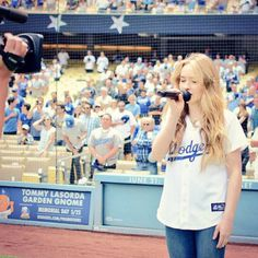 Sabrina was amazing singing the national anthem at the Dodgers game yesterday again!