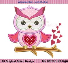 Valentine owl embroidery design, Valentine's day machine embroidery applique on heart branch, owl-014d-xi