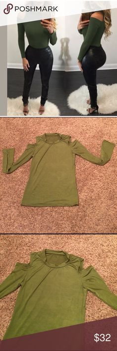 Full sleeve off the Shoulder bodycon top small/med Stylish full sleeve off the Shoulder Bodycon sexy top, size s/m, army green. NWOT never worn Tops Blouses