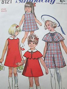 #Vintage #Simplicity 8121 #Sewing #Pattern Child'S Girl'S #Dress #Cape Size 6 Years | eBay