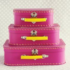 Hot Pink/Yellow Paper Suitcase Set, $32...use for party, then in Maddie's room for storage.  {Shop Sweet Lulu}