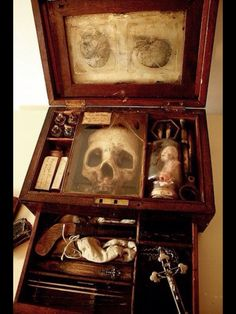 """Great 188s, """"Vampire research case"""" complete with anatomical sketches, skull, daguer and pistol, extracter fangs, vials of blood, crucifix and wooden stake."""