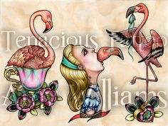 Alice in Wonderland with Flamingo Mouth Tattoo Art  by amybird, £10.00