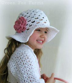 CUSTOM Girls Crochet Easter Hat with Flower Sun Hat by GreenFoxFarms