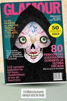 """Pieza para el CONCURSO INTERNACIONAL DE CARTELES """"A LA MUERTE CON UNA SONRISA"""" 2015 del Museo Mexicano del Diseño (MUMEDI)."""