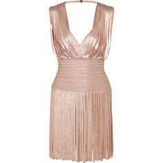 Hervé Léger Naomi fringed metallic bandage mini dress ($1,790) found on Polyvore featuring women's fashion, dresses, fringe cocktail dress, metallic cocktail dress, fringe dress, pink flapper dress and mini dress