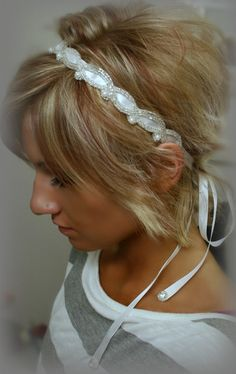 Beads, Pearls and Rhinestones Ribbon Headband with additional rhinestone at the end of the ribbons