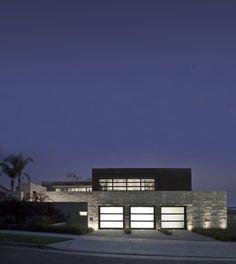 Modern garage door in the night