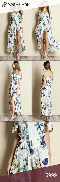 Off Shoulder Floral Maxi Romper Off shoulder floral maxi romper  Modeling size small True to size  100% rayon RORYRY Pants Jumpsuits & Rompers