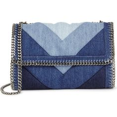 Stella McCartney Falabella denim shoulder bag ($810) ❤ liked on Polyvore featuring bags, handbags, shoulder bags, stella mccartney purse, patchwork purses, stella mccartney, blue handbags and chain purse