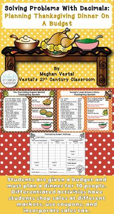With this Thanksgiving math activity, students must plan Thanksgiving dinner for a certain number of people on a budget. This Thanksgiving math project allows students to practice solving problems with decimals. Opportunities for differentiation are included. #vestals21stcenturyclassroom #thanksgivingmathactivities #thanksgivingmathproject #thanksgivingmathcenters