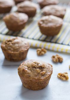 Healthy banana muffins made with yogurt, walnuts and maple syrup. Whole wheat, moist and absolutely delicious, this is the only banana muffin recipe you need!
