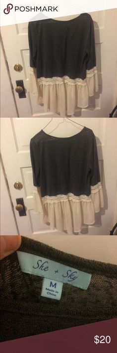 Grey top from Apricot Lane Boho style top She and Sky Tops Blouses