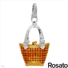 $59.00  ROSATO Made in Italy Irresistible Brand New Pendant in Two tone Enamel and 14K/925 Gold plated Silver. Total item weight 13.0g  Length 48.5mm