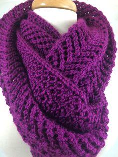 #cpromo Dark Fuchsia Hand knit Scarf Extra Long in lace Arrowhead Pattern Caron Simply Soft yarn