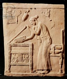A young woman arranging her clothes in a coffer, 450 BC (stone), Greek, (5th century BC) / Museo Archeologico Nazionale, Taranto, Puglia, Italy / The Bridgeman Art Library