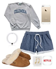 """XOXO Gossip Girl :*"" by sofiaestrada ❤ liked on Polyvore featuring mode, H&M, Columbia, UGG Australia en Happy Plugs"