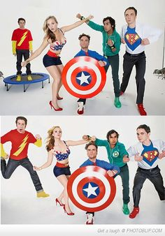 Funny pictures about Big Bang Stars as Superheroes. Oh, and cool pics about Big Bang Stars as Superheroes. Also, Big Bang Stars as Superheroes. Big Bang Theory, The Big Theory, The Big Bang Therory, Star Trek, Thats 70 Show, Johnny Galecki, Mayim Bialik, Nerd Love, Film Serie