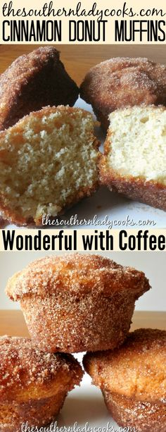 Cinnamon donuts - Cinnamon donut muffins are wonderful for breakfast with your morning coffee or as a snack or treat anytime muffins cinnamon donut breakfast treats snacks coffee easyrecipes recipes cinnamo Breakfast And Brunch, Breakfast Recipes, Dessert Recipes, Breakfast Muffins, Snacks Recipes, Recipies, Breakfast Casserole, Cake Donut Recipes, Ark Recipes