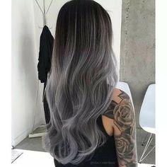 Charcoal / grey / silver hair