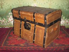 RARE Factory Original Miniature Jenny Lind Doll Trunk with PINK INTERIOR!