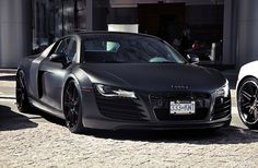 Matte Black Audi R8 Spyder. Give me red leather interiors and I can die happy and go to car heaven