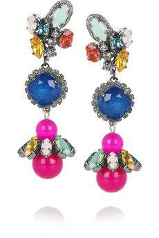 Erickson Beamon Rear Window gunmetal-plated Swarovski crystal earrings