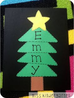 Miss Kindergarten: classroom ideas 1 triangle for each letter in child's name - Kiddos at Home Kids Crafts, Daycare Crafts, Classroom Crafts, Christmas Crafts For Kids, Preschool Crafts, Christmas Themes, Kids Christmas, Holiday Crafts, Holiday Fun