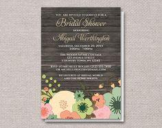 Rustic Orange Teal Floral Wood Bridal Shower Invitations