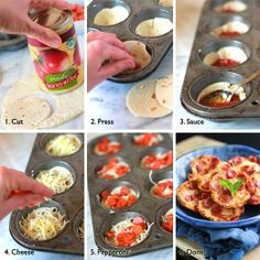 How to Make Mini Tortilla Crust Pizzas - Preheat oven- 400 degrees. Open the can of pizza sauce, empty the sauce from can, and rinse can out. Use cut edge of the sauce can,cut 4 rounds from each tortilla.  Press each round into a lightly-greased muffin tin. Put a tablespoon pizza sauce into the center of each tortilla round.Sprinkle cheese on top of sauce on each tortilla round.  Top each pizza with mini pepperoni  rounds. Bake 10-12 min,
