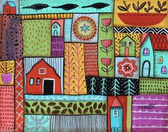 In The Country 14x11 Birds Houses Barn ORIGINAL Canvas PAINTING FOLK ART KarlaG new painting for sale..