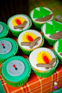 Fondant topped cupcakes at a Camping Party. See more party ideas at CatchMyParty.com #campingparty