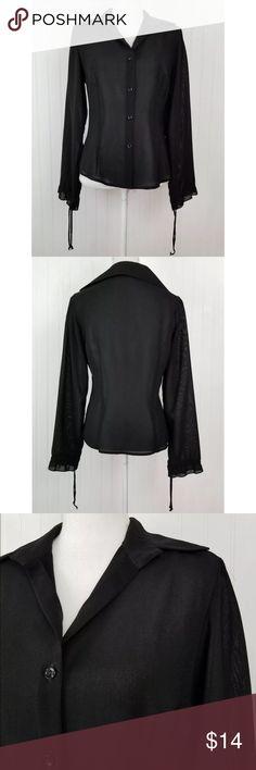 "Zara Basic Sheer Black Button Up Shirt Zara Basic Sheer Button Up Blouse Long sleeved Size: medium Color: Black Underarm to underarm 18"" Length 23"" In very good preowned condition Zara Tops Button Down Shirts"
