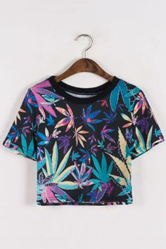 Cropped Colorful Leaves Print T-shirt