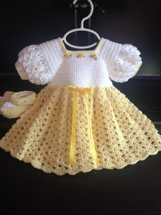 Crochet cotton baby dress booties yellow and white 3 6 mo Crochet Girls, Crochet Baby Clothes, Crochet For Kids, Lidia Crochet Tricot, Vestidos Bebe Crochet, White Baby Dress, Baby Dress Patterns, Dress Up Outfits, Special Dresses