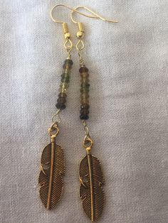 Handcrafted multi-colored Tourmaline brown, carmel, yellow, green gems stones, brass feather earrings Made in USA by MoonBeamsJewels on Etsy