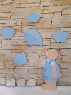 Composicion Osito jugando con una cometa. http://pekerines.blogspot.com.es/search/label/Siluetas%20de%20madera .